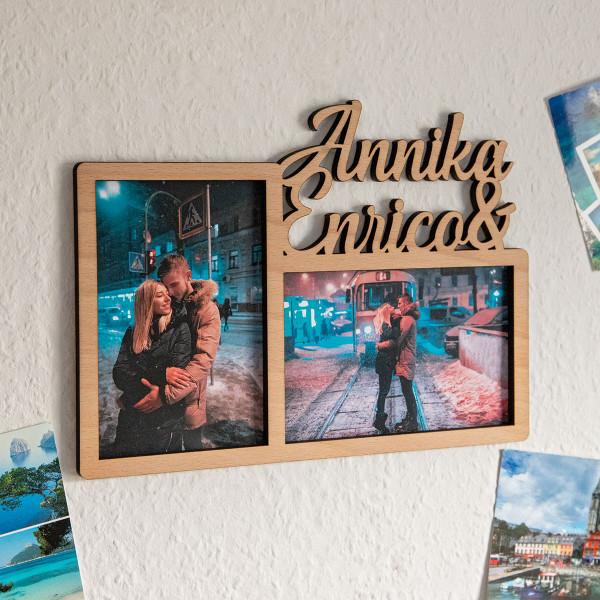 Personalisierter Bilderrahmen für 2 Fotos (10x15 cm)