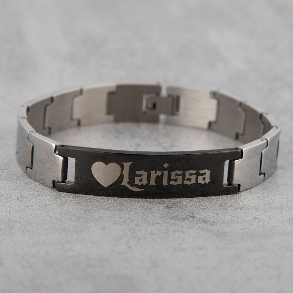 Edelstahl Armband mit Gravur für Männer in silber/schwarz (21cm)