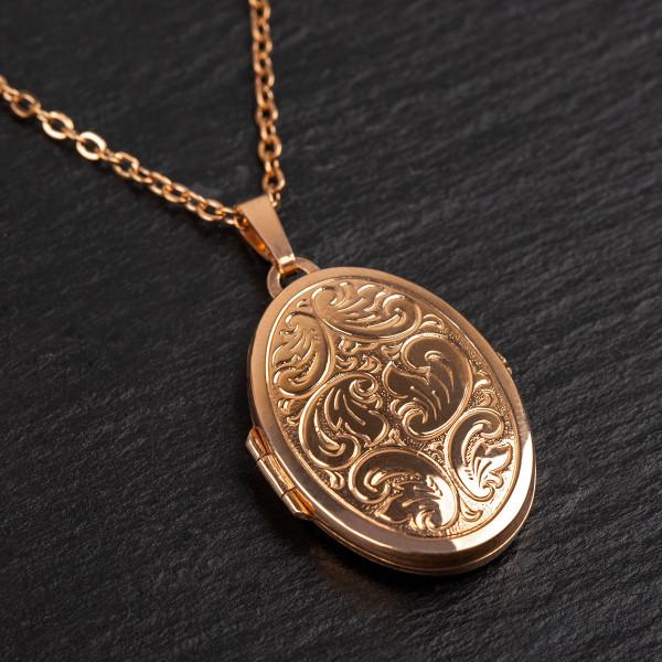 Medallion mit Gravur in roségold - 925 Silber vergoldet