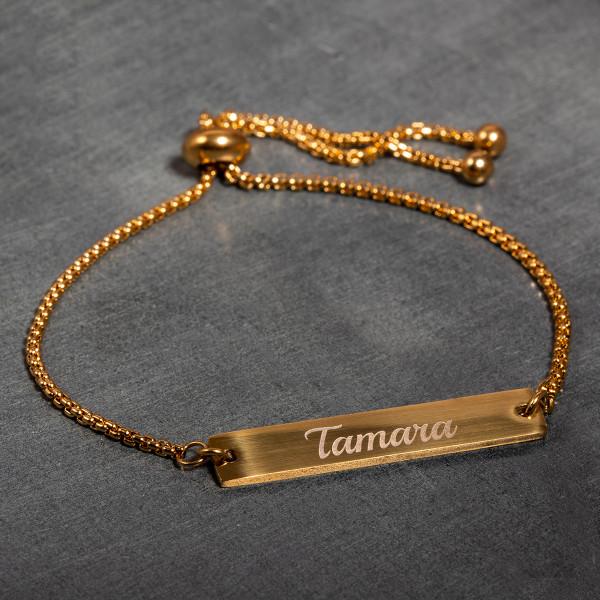 Armband mit Gravur in gold - Flexible Größe