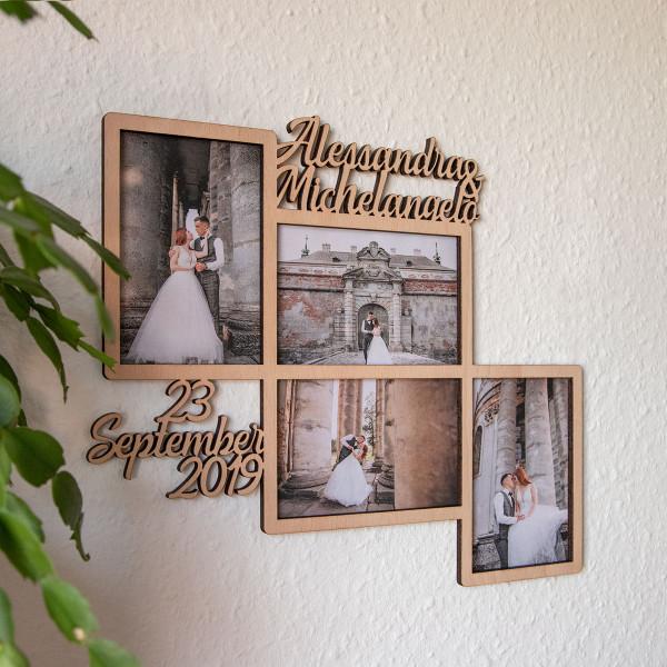 Personalisierter Bilderrahmen für 4 Fotos (10x15 cm)