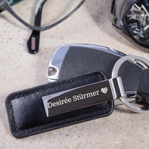 """Schlüsselanhänger mit Leder und Gravur """"Florenz"""""""