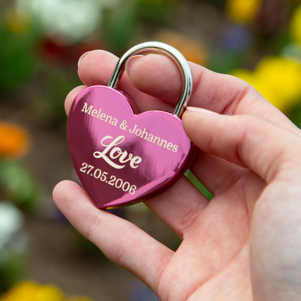 Liebesschloss Herzform Pink