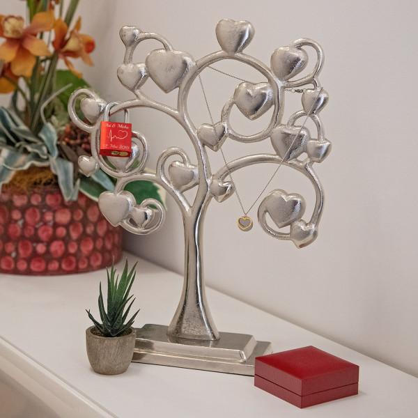 Großer Deko-Baum aus Metall mit großen Herzen