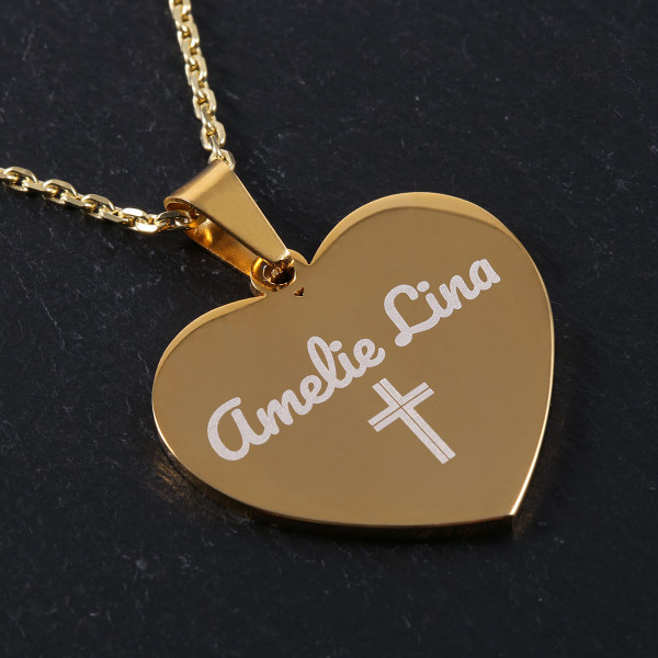 Herz Anhänger mit Gravur in gold