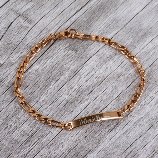 Armband mit Gravur und Figarokette in roségold (21 cm)