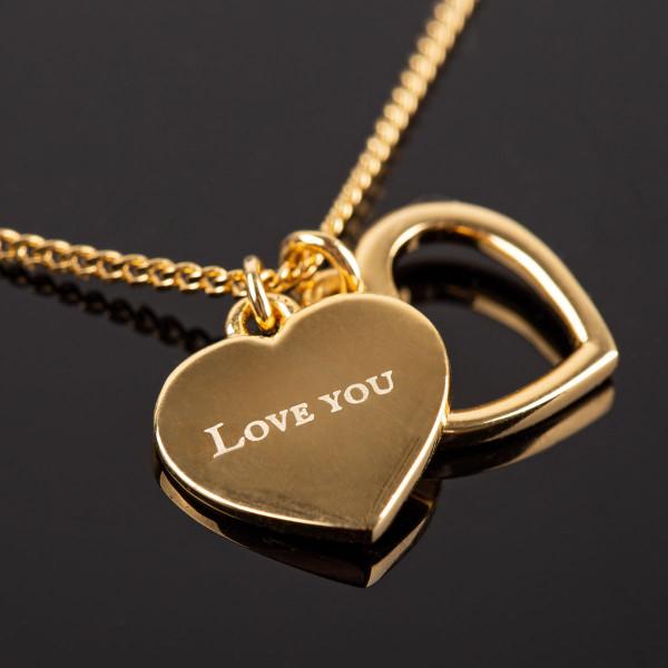 Herz Halskette mit Anhängern und Gravur in gold - 925 Silber vergoldet