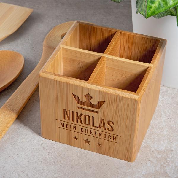 Kochlöffel-Set mit Gravur und Aufbewahrungsbox aus Bambus