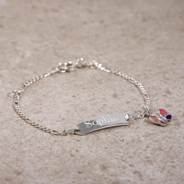 """Kinderarmband mit Gravur """"Schmetterling"""" - 925 Silber (14cm)"""