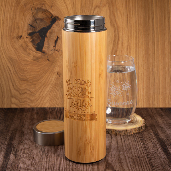 Deluxe Isolierflasche mit Gravur aus Bambus