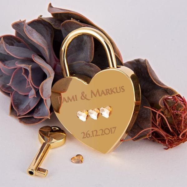 Liebesschloss Herzform Gold mit Herz Kristallen