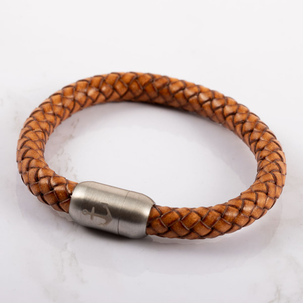 Anker Armband in hellbraun aus Leder