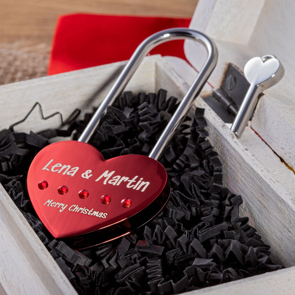 Großes Liebesschloss Herzform Rot mit runden Kristallen von Swarovski®