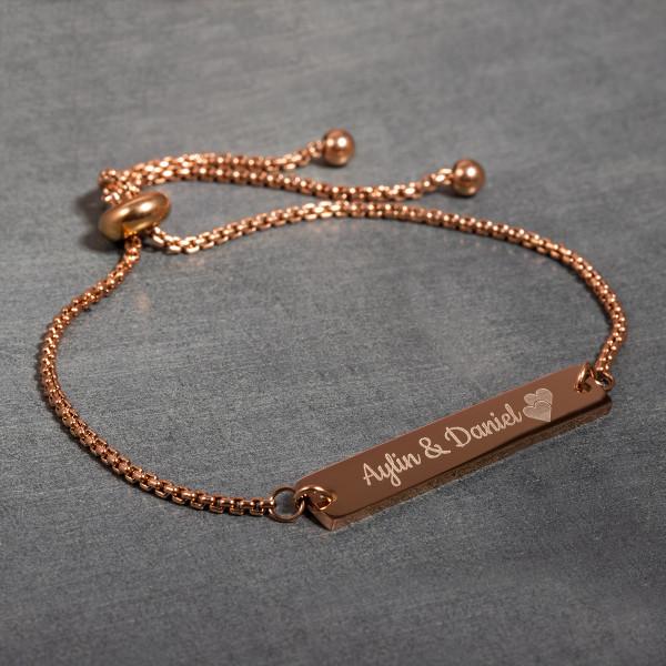 Armband mit Gravur in roségold - Flexible Größe