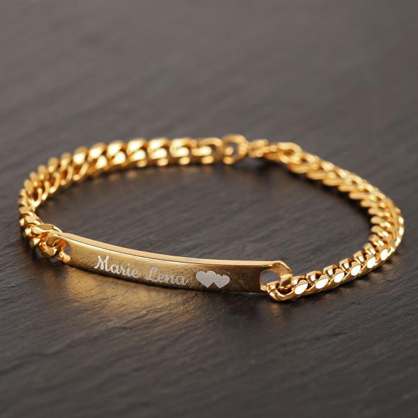 Armband mit Gravur in gold (19 cm)