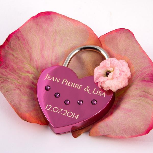 Liebesschloss Herzform Pink mit runden Kristallen von Swarovski®