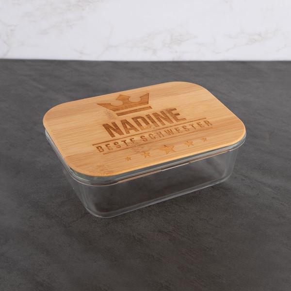 Lunchbox aus Glas mit graviertem Bambusdeckel