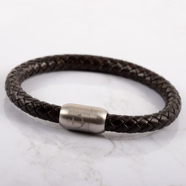 Anker Armband in schwarz aus Leder