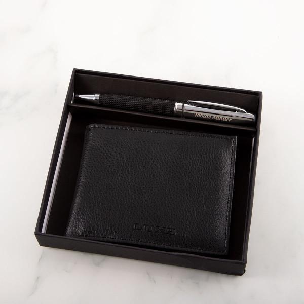 LUXE Schreibset mit Gravur - Kugelschreiber und Geldbörse