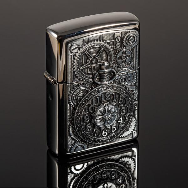 Premium Zippo® mit Gravur - Taschenuhr