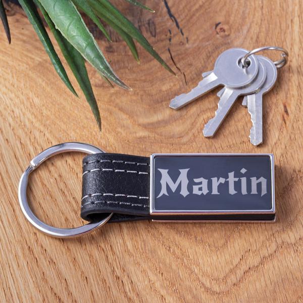 """Schlüsselanhänger mit Leder und Gravur """"Seattle"""""""