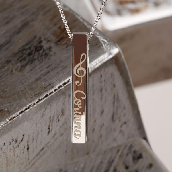 Balken Anhänger mit Gravur - 925 Silber