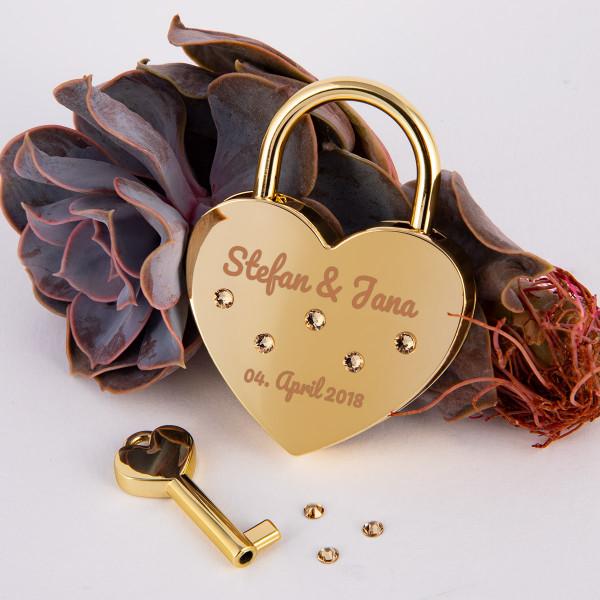 Liebesschloss Herzform Gold mit runden Kristallen