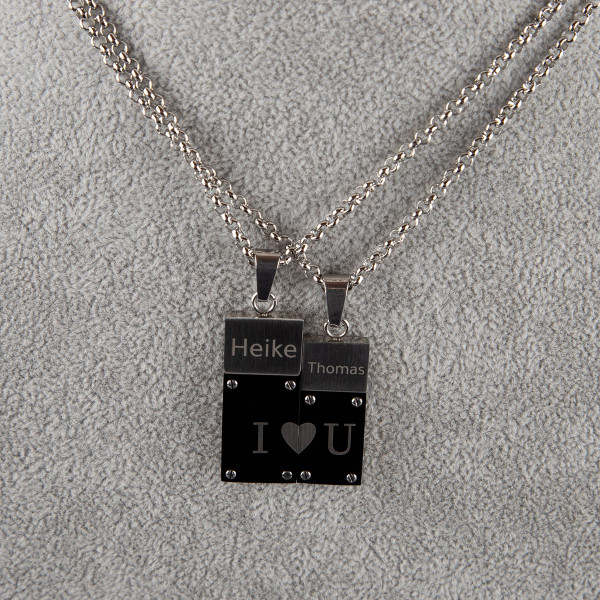 "Partner Halskettenanhänger ""I Love You"" mit Gravur"
