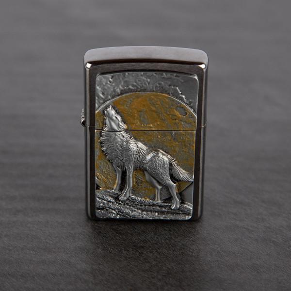 Premium Zippo® mit Gravur - Wolf