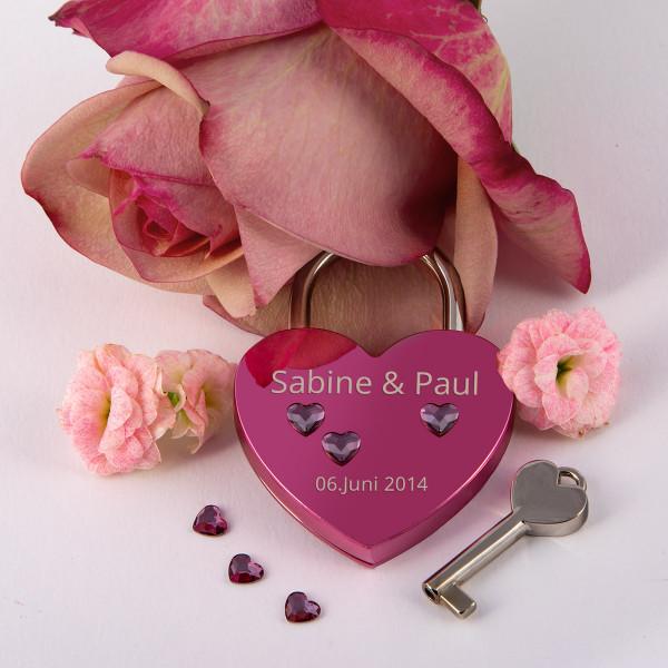 Liebesschloss Herzform Pink mit Herz Kristallen von Swarovski®