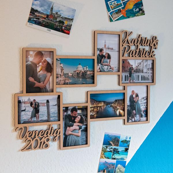Personalisierter Bilderrahmen für 8 Fotos (10x15 cm)