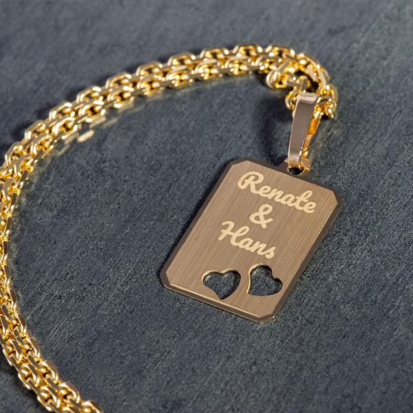 Anhänger Gravurplatte mit Herzen - 585er Gold