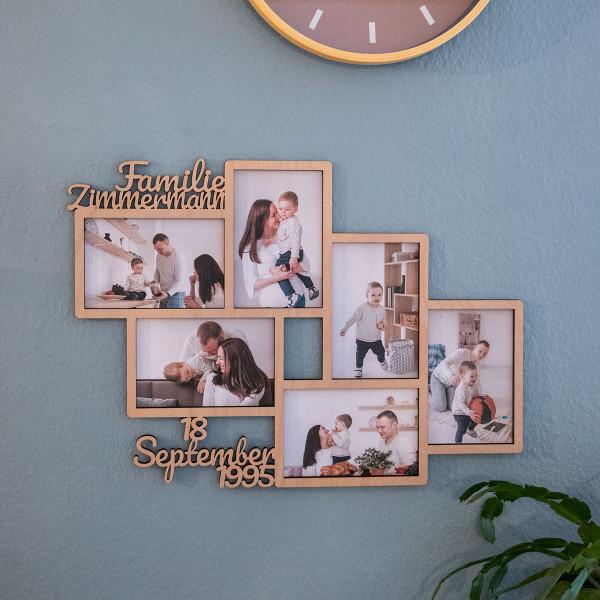Personalisierter Bilderrahmen für 6 Fotos (10x15 cm)