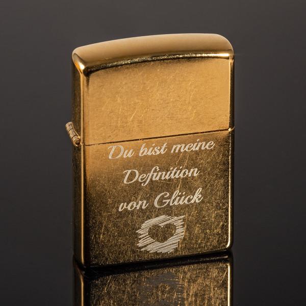 Zippo® Gold mit Gravur (Gold Dust)