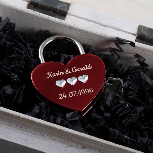 Liebesschloss Herzform Rot mit Herz Kristallen von Swarovski®