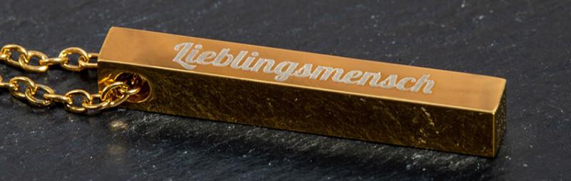 Barrenkette mit Gravur in gold