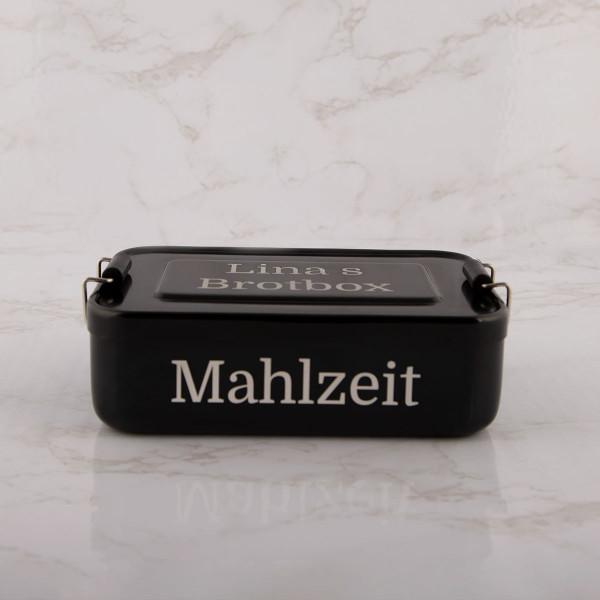 """Lunchbox aus Edelstahl mit Gravur """"Schwarz"""""""