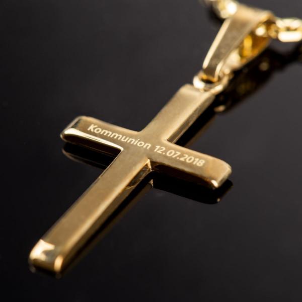 """Anhänger """"Kreuz"""" mit Gravur in gold - 333er Gold"""