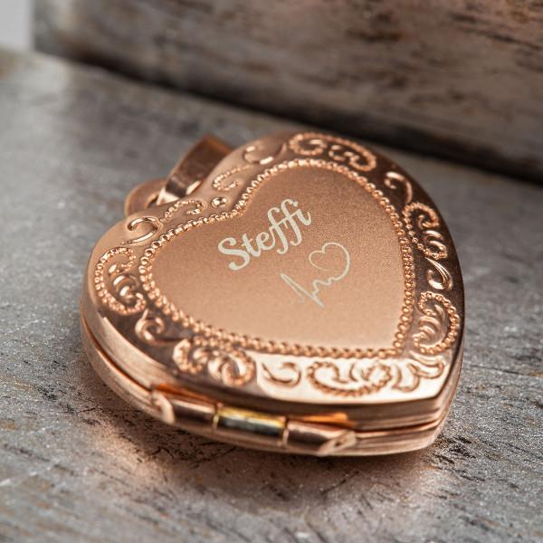 Herz Medallion mit Gravur in roségold - 925 Silber vergoldet