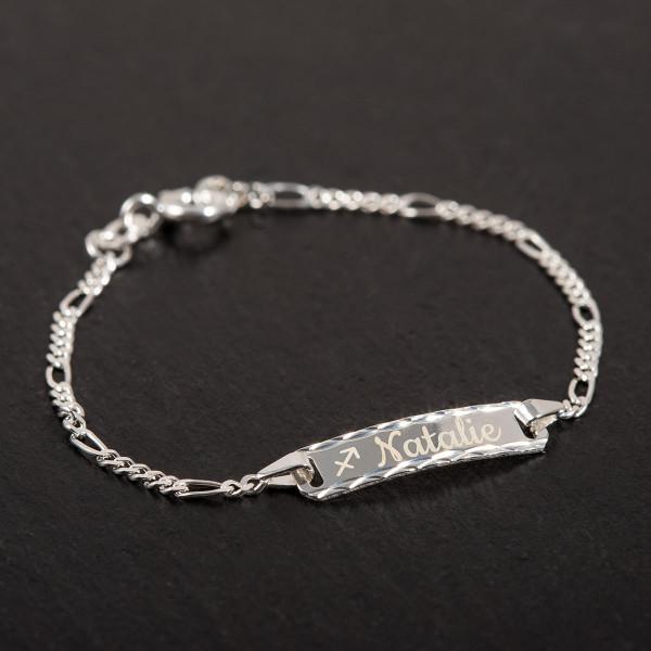 "Kinderarmband mit Gravur ""Diamantiert"" - 925 Silber (14cm)"
