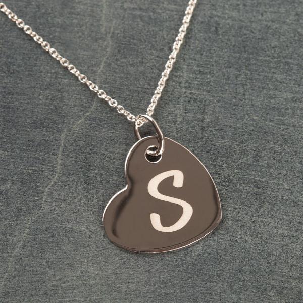 Hängendes Herz Anhänger mit Gravur - 925 Silber