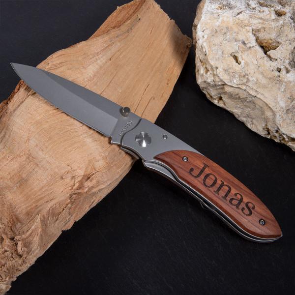 Taschenmesser mit Gravur aus Rosenholz