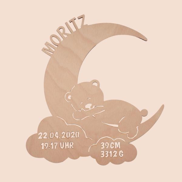 """Nachtlicht """"Mond mit Teddy"""" mit Personalisierung"""