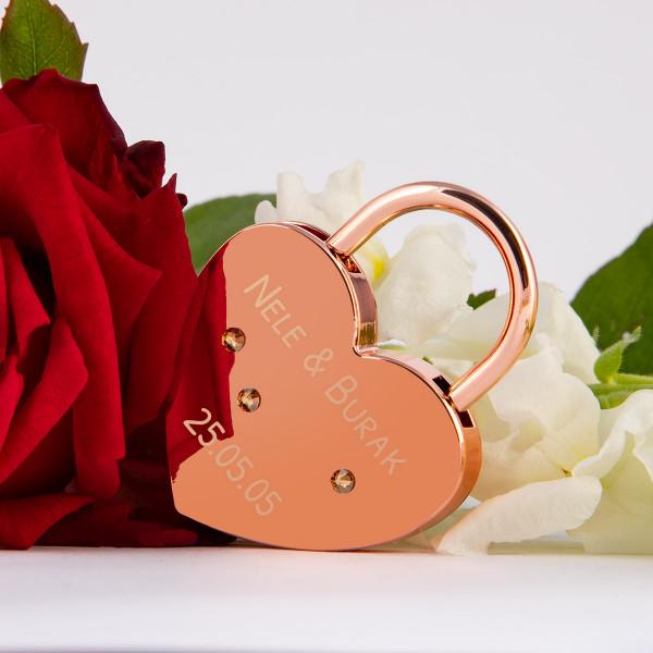 Liebesschloss Herzform Roségold mit runden Kristallen