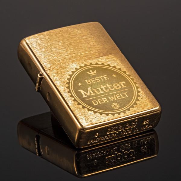 Zippo® Gold mit Gravur (Brass Brushed)
