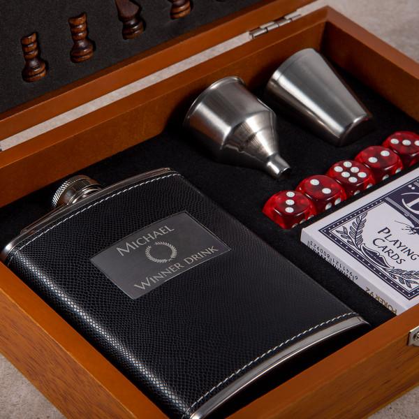 Premium Flachmann-Set mit Spielesammlung (230ml)