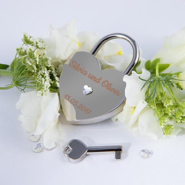 Liebesschloss Herzform Silber mit Herz Kristallen von Swarovski®