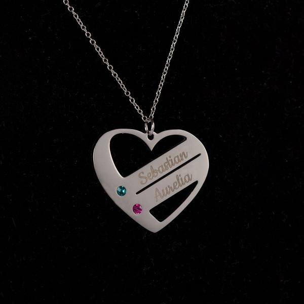 Herz Halskette mit 2 Namen