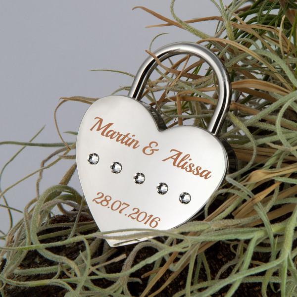 Liebesschloss Herzform Silber mit runden Kristallen von Swarovski®