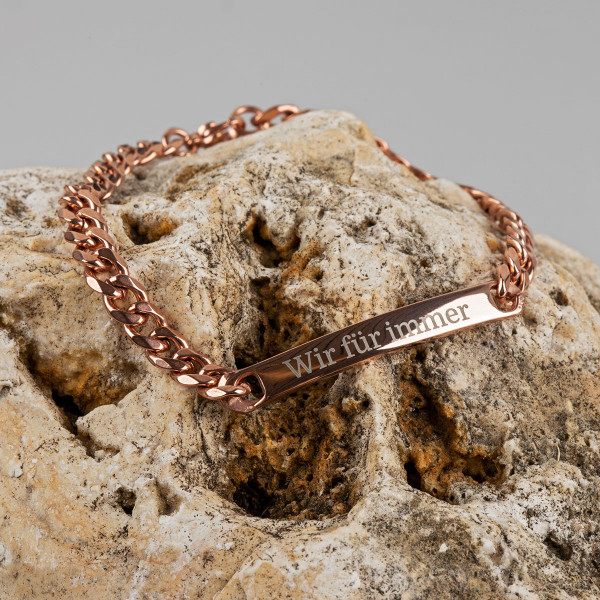 Armband mit Gravur in roségold (19 cm)